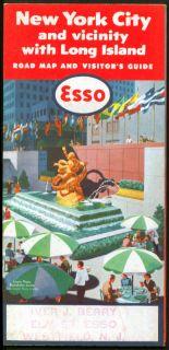 Esso Gasoline Road Map New York City Long Island 1956
