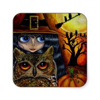 Kawaii Halloween Owl Witch Doll with Big Eyes Sticker