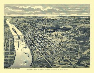 Old Map St Paul Minnesota 1893 Dakota County