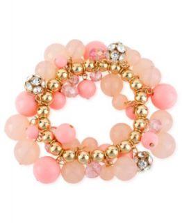 Haskell Bracelet, Gold Tone Pink Bead Glass Fireball Stretch Bracelet