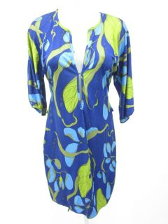 Mara Hoffman Blue Green Leaf Print Tunic Dress Sz S