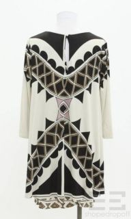 Mara Hoffman Khaki Black Jersey Long Sleeve Dress Size Large