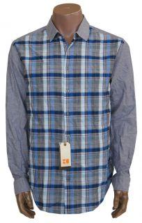 New Hugo Boss Orange Emio 100 Cotton Casual Shirt Mens Size XXL Blue $