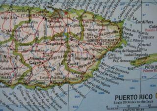 1962 Map West Indies Puerto Rico Cuba Jamaica Trinidad Aruba Nevis