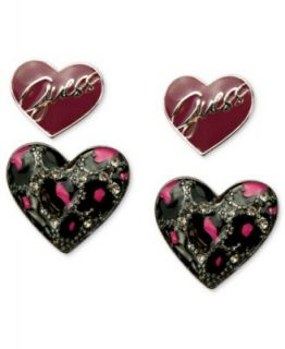 GUESS Earring Set, Hematite Tone Jet and Hot Pink Double Heart Stud