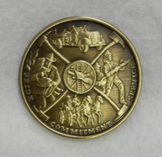IAFF Firefighter Fireman Maltese Cross Bronze Medallion Coin