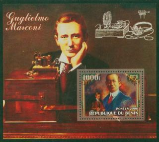 BENIN MARCONI AMATEUR HAM RADIO STAMP SS with MARCONI @ RIG MNH *GREAT