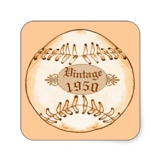 1950 Vintage Baseball Square Stickers