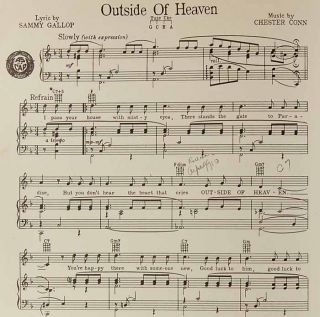 1952 Outside of Heaven Gallop Conn Margaret Whiting Sheet Music