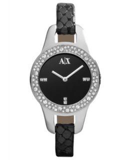 Armani Exchange Watch, Womens Black Python Stamped Leather Strap