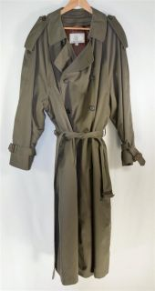 London Fog Olive Green Mens Trench Coat Belted with Removable Lining