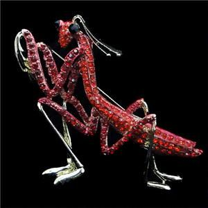 54 Mantis Insect Brooch Pin Red Rhinestone Crystal