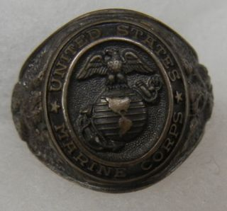 Sterling WW2 United States Marine Corps USMC EGA Ring