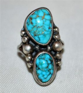 Vintage Navajo Native American Indian Sterling & Turquoise Ring Sz 5.5