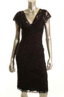 Marina New Black Cap Sleeve Embellished Lace Tiered Semi Formal Dress