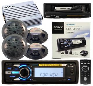 Sony DSX MS60 Marine MP3 Radio Stereo 4 Speakers Amp