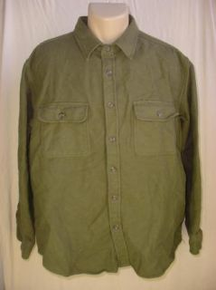 Marino Bay Chamois Mens Casual Button Front Shirt Green Thick Cotton