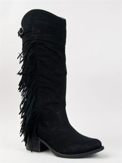 New Qupid Casual Western Cowboy Fringe Knee High Heel Boot Sz Black
