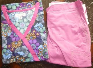 Koi Kathryn Scrub Top Pansy & Marissa Scrub Pants Strawberry New 2X