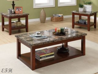 Faux Marble Top Brown Cherry Finish Wood Coffee End Table Set