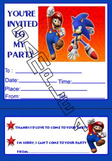 Mario Sonic Party Invitations Invites Envelopes X10