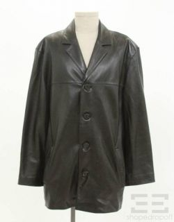 Marc New York Andrew Marc Mens Black Leather Button Front Jacket Size