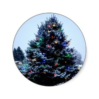 Outdoor Christmas tree Decorated Round Stickers