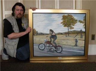 Oil Painting Original Motorcycle Art Indian Larry Paul Cox Bobber