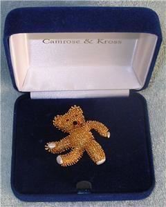 Bear Pin Brooch JBK by Camrose Kross Jackie Kennedy Collection