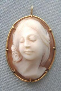 14k Gold Real Shell Full Face Cameo Pendant 1 1 2