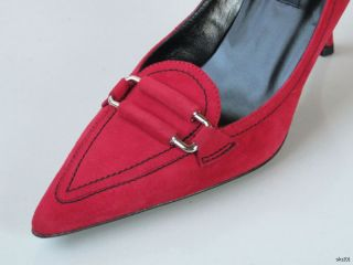 New Claudia Ciuti Margie Red Suede Heels Pumps Shoes Classic Style