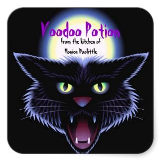 Halloween Food Labels Black Cat Full moon Square Sticker