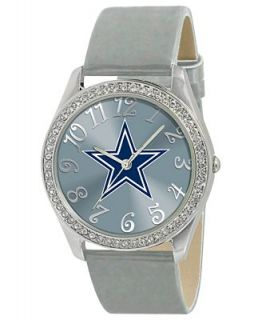 Game Time Watch, Womens Dallas Cowboys Silver Leather Strap 40mm NFL