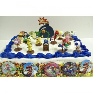 18pc Super Mario Brothers Cake Topper Set Dry Bones Yoshi Pokey Toad