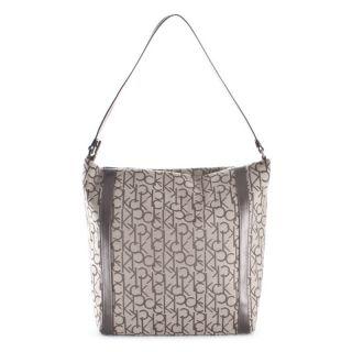 Authentic Calvin Klein Woman Shoulder Bag Logated CK Fabric Beige
