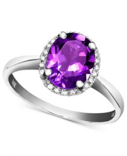 14k White Gold Ring, Amethyst (1 1/2 ct. t.w.) and Diamond Accent Oval