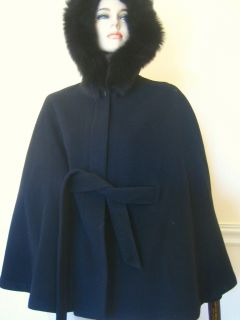 Marvin Richards Black Wool Fox Fur Hood New Cape M s Made in USA