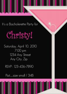 Bachelorette Martini Ring Custom Party Invitations