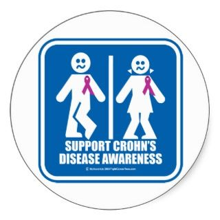 Crohns Disease Restroom Sign Stickers
