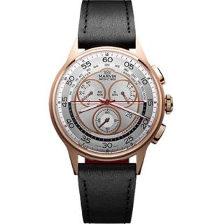 Marvin Mens M008 44 33 64 Chrono PVD Pink Gold Case Black Leather