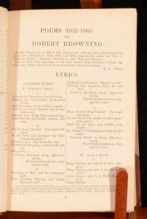 1916 Poems of Robert Browning with Dramatic Lyrics Romances Other with