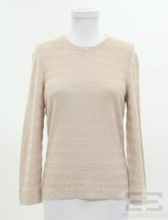 Marlowe Beige Cashmere Silk Tonal Striped Crewneck Sweater Size Small