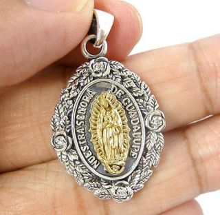 Gold Virgin Mary Jesus 925 Sterling Silver Oval Pendant