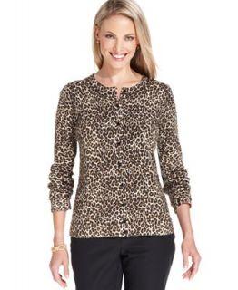 Charter Club Sweater, Long Sleeve Animal Print Cardigan