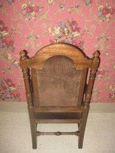Ethan Allen Royal Charter William Mary Style Oak Padded High Back Arm
