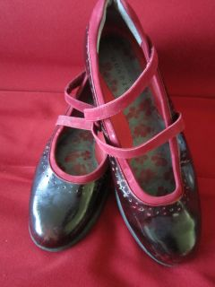 Traversa Dark Red Suede & High Gloss Leather Mary Janes Flats Size 7 B