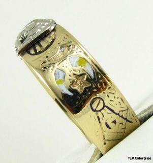 Scottish Rite Masonic Symbol Band 10K Gold Masons Ring Shriners 32nd