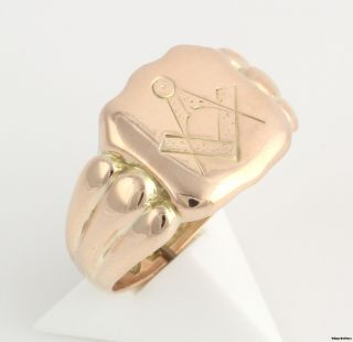 Vintage British Made Masonic Ring 9K Yellow Gold Flat Engraved Square