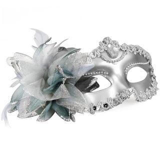 Gorgeous Masquerade Party Mask Black Silver Venetian Detailed Mardi
