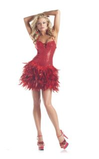 Be Wicked Sexy Red Sequin Feather Dress Showgirl Burlesque Dancer